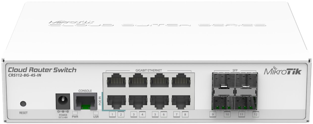 MikroTik Cloud Router Switch CRS112-8G-4S-IN with QCA8511, 128MB