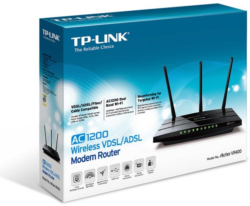 TP-Link VR400 - AC1200 Wi-Fi VDSL/ADSL Modem Gigabit Router (Annex B ...